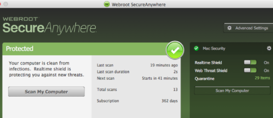 Webroot Secureanywhere Antivirus PC