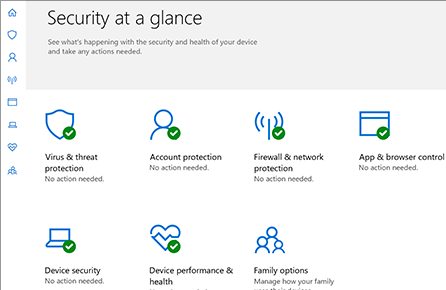 Windows defender against viruses and attacks